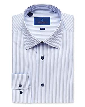 David Donahue Shadow Stripe Trim Fit Dress Shirt-Men