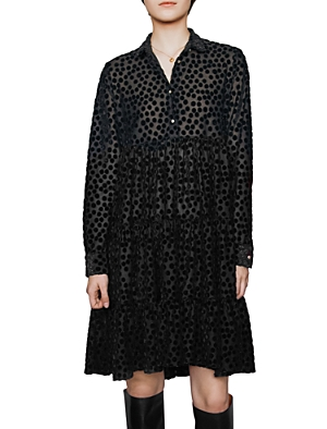 Maje Dresses ROLLY POLKA DOT BURNOUT VELVET DRESS