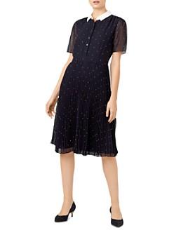 HOBBS LONDON - Hailey Polka Dot Pleated Shirt Dress