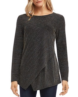 Karen Kane - Metallic-Stripe Overlay Top