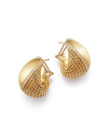 Roberto Coin - 18K Yellow Gold Diamond Huggie Hoop Earrings