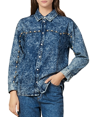 Sandro T-shirts STANE DENIM RHINESTONE DETAIL SHIRT