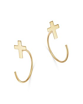 Moon & Meadow - Cross Front-to-Back Earrings in 14K Yellow Gold - 100% Exclusive