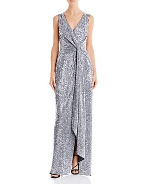 Sequin Twist-Front Gown