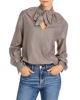See by Chloé - Tie-Neck Houndstooth Top