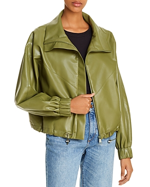 AERON Portia Faux Leather Bomber Jacket