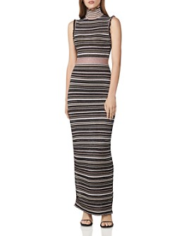 Hervé Léger - Striped Mesh Knit Gown
