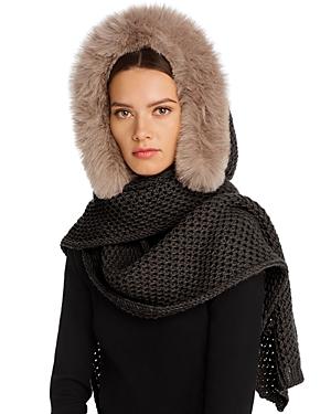 Max Mara Fox-Fur Trim Hooded Scarf