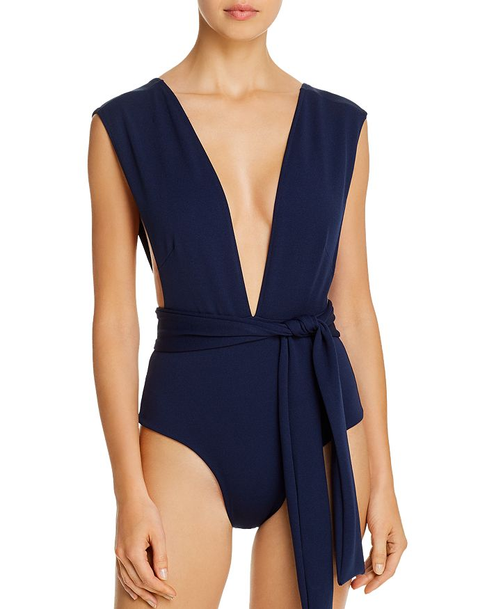 Haight - Deep V-Neck Crepe One Piece Swimsuit