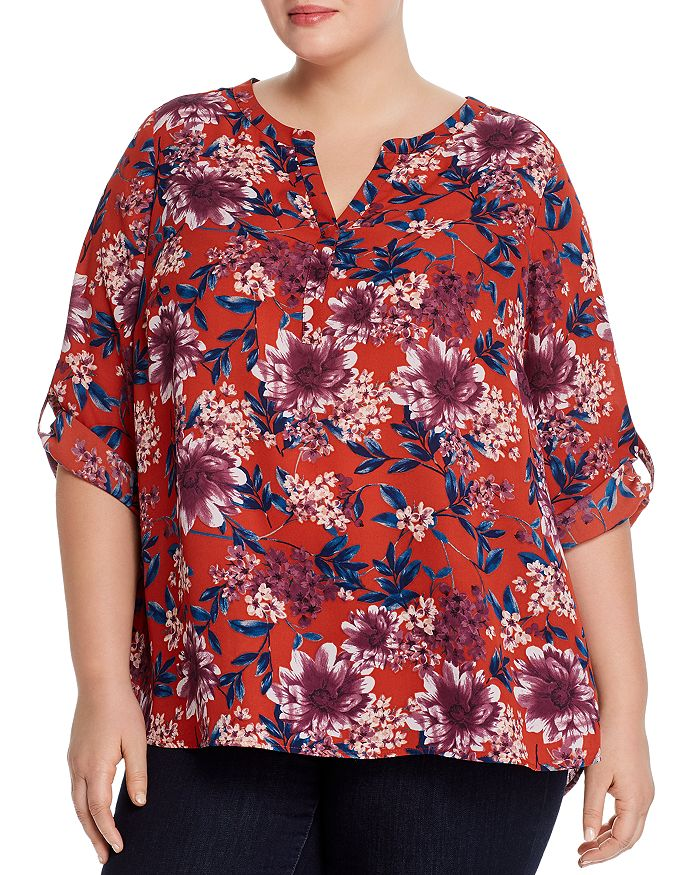 Daniel Rainn Plus Printed Roll-sleeve Top In Brick