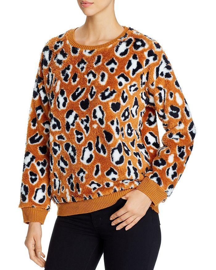 Alison Andrews Leopard Print Sherpa Sweatshirt In Cheetah Sprawl