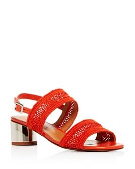 Clergerie - Women's Leana Woven Slingback Block-Heel Sandals