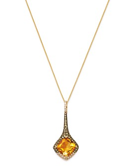 "Bloomingdale's - Citrine, Yellow Sapphire & Diamond Drop Necklace in 14K Yellow Gold, 18"" - 100% Exclusive"