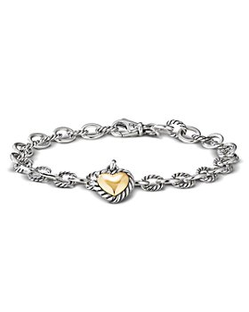 David Yurman - Sterling Silver & 18K Yellow Gold Cable Cookie Classic Heart Charm Bracelet