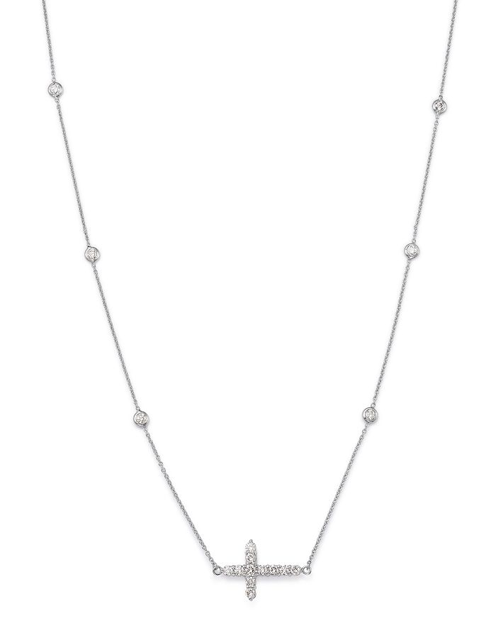 Roberto Coin - 18K White Gold Tiny Treasure Diamond Cross Station Necklace, 16""