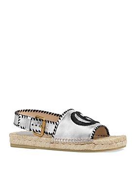 Gucci - Metallic Leather Espadrille Sandals