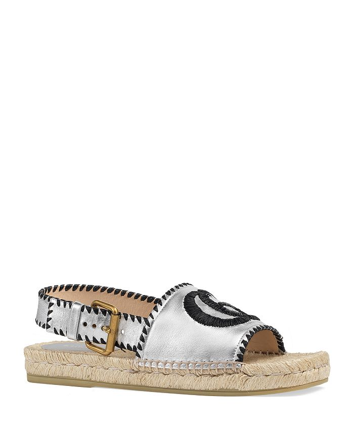 Gucci - Metallic Leather Espadrille Sandals