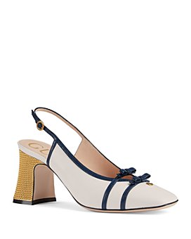 Gucci - Women's Leather Mid-Heel Slingback Pumps