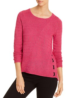 NIC and ZOE - Ribbed Lace-Up Sweater