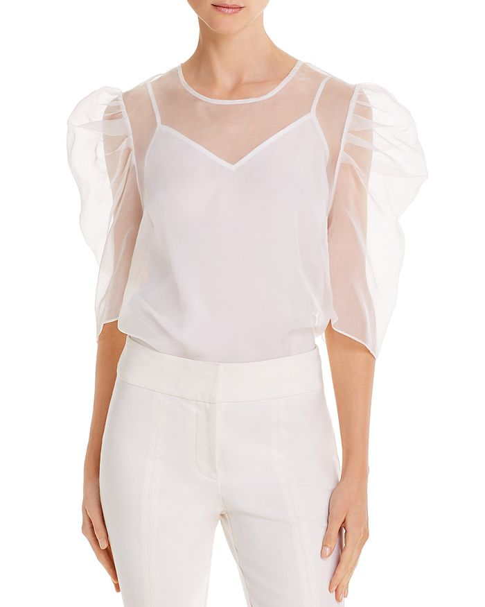 Cinq à Sept - Erin Sheer Silk Puff-Sleeve Top