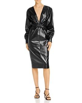 MSGM - Abito Faux Leather Bow Detail Midi Dress