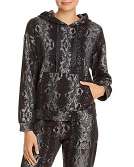 Monrow - Foil Snake Print Hooded Sweatshirt
