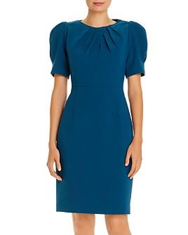 Elie Tahari - Delphine Puff-Shoulder Pleated Dress