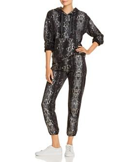 Monrow - Foil Snake Print Hooded Sweatshirt & Sweatpants