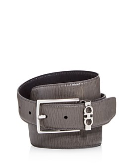 Salvatore Ferragamo - Men's Gancini Keeper Reversible Textured Leather Belt