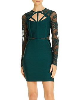 GUESS - Prianka Lace-Sleeve Body-Con Dress
