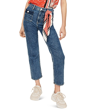 Maje Jeans PLAISIR HIGH-RISE STRAIGHT-LEG JEANS IN BLUE