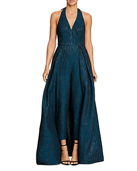 HALSTON - Metallic Jacquard Skirted Jumpsuit