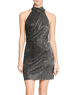 HALSTON - Metallic Knit Mini Dress
