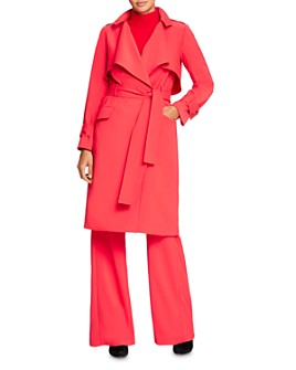 HALSTON - Crepe Suiting Trench Coat
