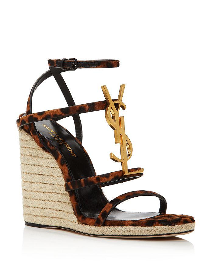 Saint Laurent - Women's Cassandra 105 Wedge-Heel Espadrille Sandals