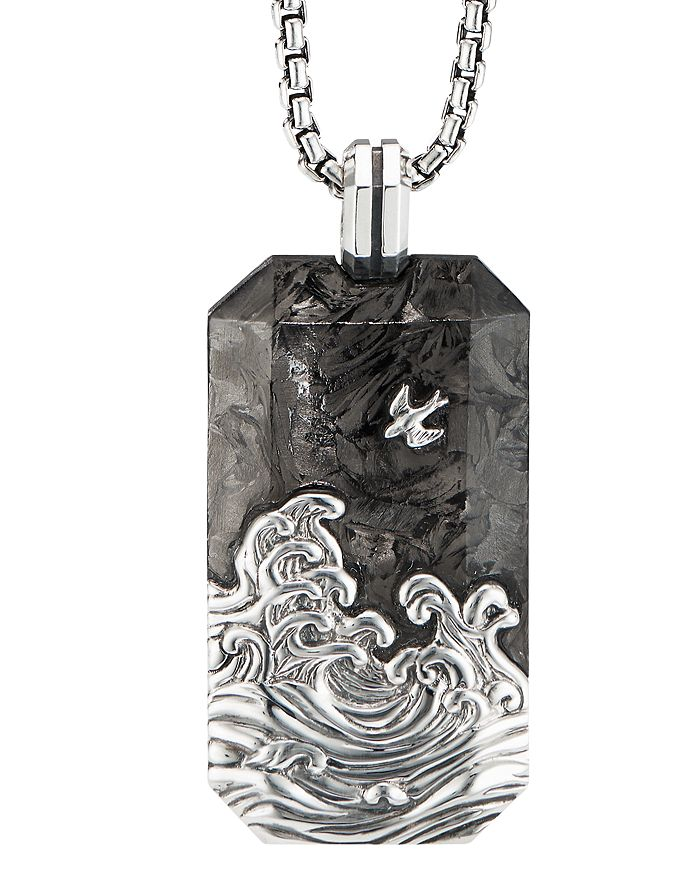 David Yurman - Sterling Silver Waves Tag Pendant with Forged Carbon
