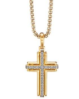 David Yurman - 18K Yellow Gold Deco Cross Pendant with Pavé Diamonds