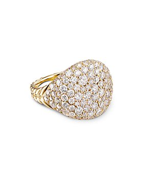 David Yurman - 18K Yellow Gold Chevron Pinky Ring with Pavé Diamonds