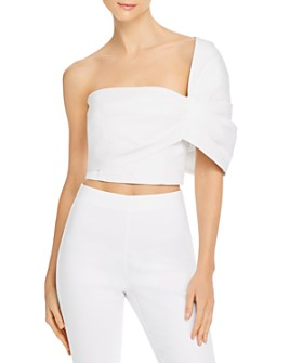 Amur - Asymmetric Taffeta Crop Top