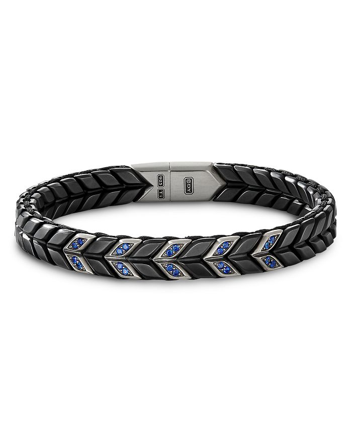 David Yurman - Sterling Silver Chevron Narrow Woven Bracelet with Black Titanium & Sapphire