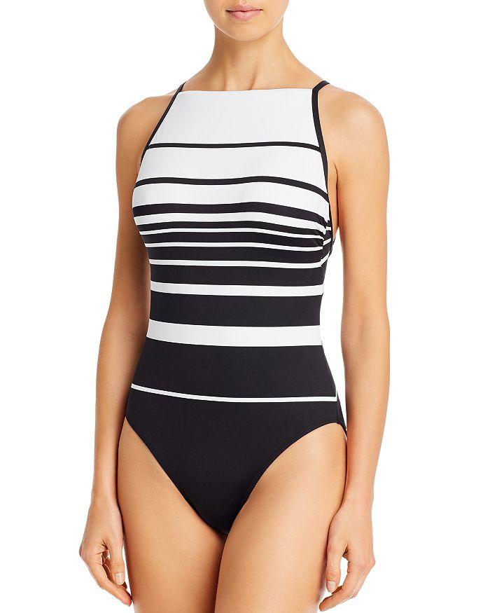 Ralph Lauren - Gradient Striped High Neck One Piece Swimsuit