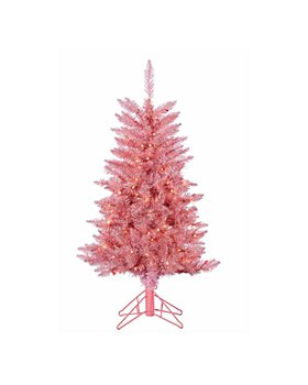Gerson Company - Pink Tuscany Tinsel Tree with Clear Lights
