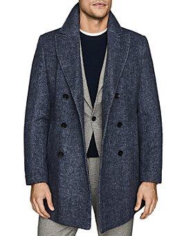 REISS - Duomo Double-Breasted Herringbone Coat