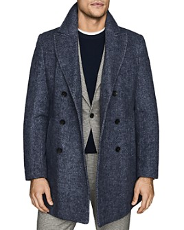 REISS - Duomo Double-Breasted Herringbone Coat