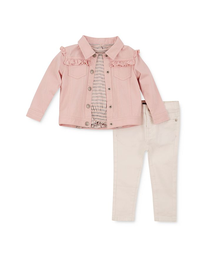 7 For All Mankind - Girls' Ruffled Denim Jacket, Tee & Jeans Set - Baby