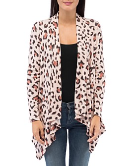 B Collection by Bobeau - Amie Leopard-Print Open Waterfall Cardigan