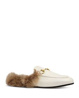 Gucci - Women's Princetown Leather & Lamb Fur Mules
