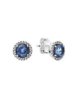 Pandora - Pandora Sterling Silver & Cubic Zirconia Blue Round Sparkle Stud Earrings