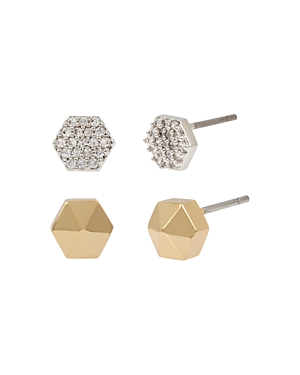 Allsaints Hexagon Stud Earrings, Set of 2