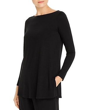 Eileen Fisher Petite System Boat Neck Tunic Top